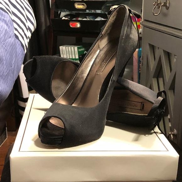 BCBGMaxAzria Shoes - Satin Black Peep Toe Pumps